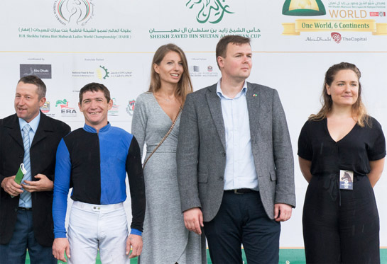 AHCII chairman, Łukasz Łuniewski - Lucas Lunevsky handed over the prizes for the race under AHCII patronage. UAE Abu Dhabi day at the Warsaw Racecource. HH Sheikh Mansoor Al Nahyan Global Festival. Arabian Horse Racing